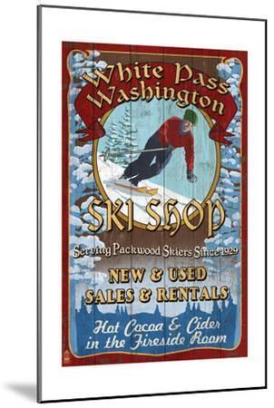 White Pass, Washington - Ski Shop Vintage Sign-Lantern Press-Mounted Art Print