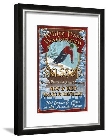 White Pass, Washington - Ski Shop Vintage Sign-Lantern Press-Framed Art Print