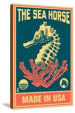 Seahorse Woodblock (Blue and Pink)-Lantern Press-Stretched Canvas Print