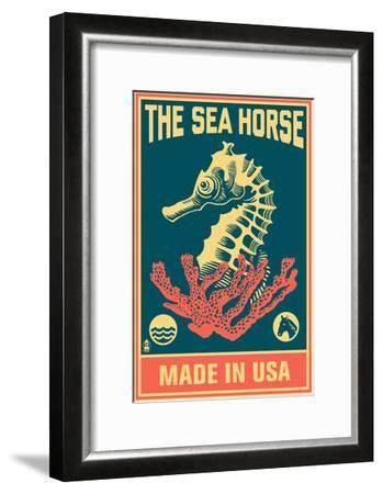 Seahorse Woodblock (Blue and Pink)-Lantern Press-Framed Art Print
