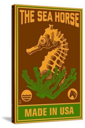 Seahorse Woodblock (Red and Green)-Lantern Press-Stretched Canvas Print