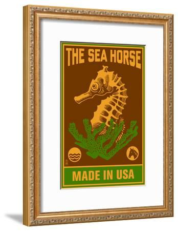 Seahorse Woodblock (Red and Green)-Lantern Press-Framed Art Print