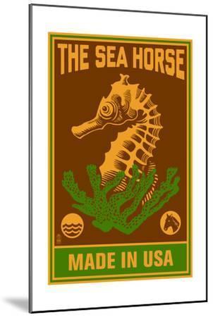 Seahorse Woodblock (Red and Green)-Lantern Press-Mounted Art Print