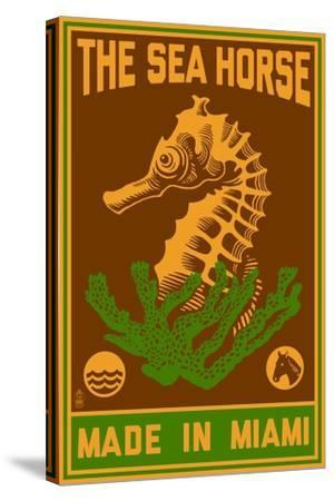 Miami, Florida - Seahorse Woodblock (Red and Green)-Lantern Press-Stretched Canvas Print