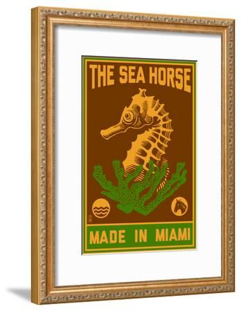 Miami, Florida - Seahorse Woodblock (Red and Green)-Lantern Press-Framed Art Print