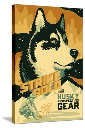 Husky - Retro Gold Mining Ad-Lantern Press-Stretched Canvas Print