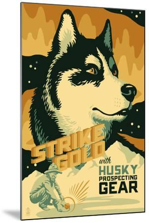 Husky - Retro Gold Mining Ad-Lantern Press-Mounted Art Print
