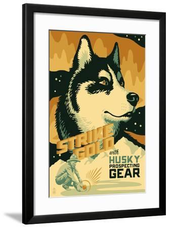 Husky - Retro Gold Mining Ad-Lantern Press-Framed Art Print