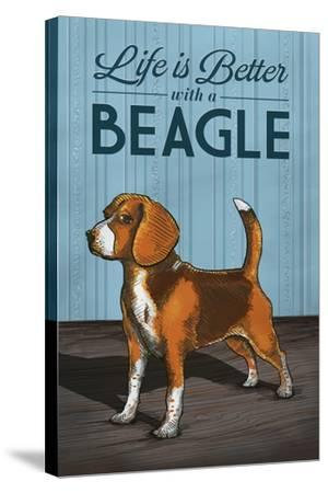 Beagle - Life is Better-Lantern Press-Stretched Canvas Print