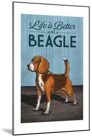 Beagle - Life is Better-Lantern Press-Mounted Art Print