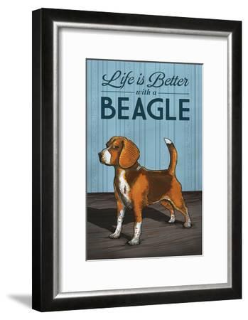 Beagle - Life is Better-Lantern Press-Framed Art Print