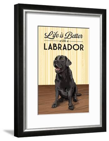 Black Lab - Life is Better-Lantern Press-Framed Art Print
