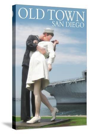 Old Town - San Diego, California - Sailor Sculpture at USS Midway-Lantern Press-Stretched Canvas Print