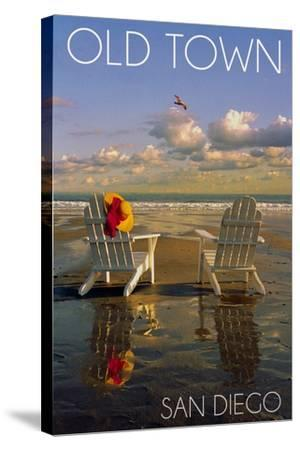 Old Town - San Diego, California - Adirondack Chairs on Beach-Lantern Press-Stretched Canvas Print