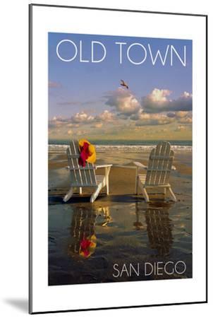 Old Town - San Diego, California - Adirondack Chairs on Beach-Lantern Press-Mounted Art Print