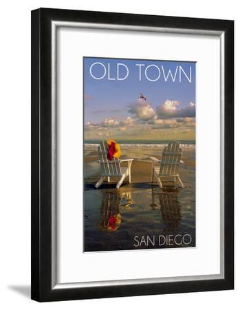Old Town - San Diego, California - Adirondack Chairs on Beach-Lantern Press-Framed Art Print