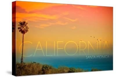 Santa Monica, California - Sunset and Bird-Lantern Press-Stretched Canvas Print