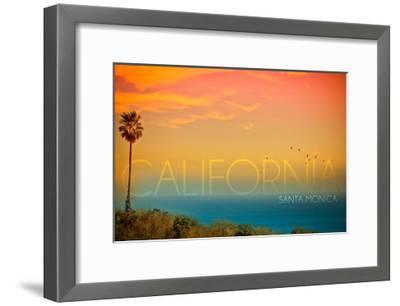 Santa Monica, California - Sunset and Bird-Lantern Press-Framed Art Print