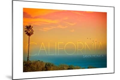 Santa Monica, California - Sunset and Bird-Lantern Press-Mounted Art Print