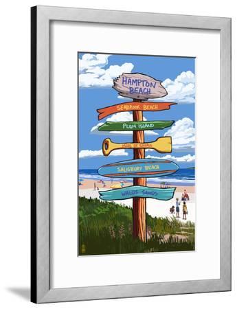 Hampton Beach, New Hampshire - Destination Signpost-Lantern Press-Framed Art Print