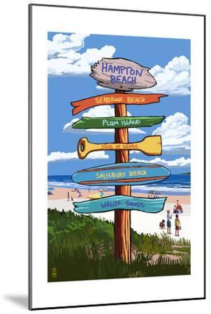 Hampton Beach, New Hampshire - Destination Signpost-Lantern Press-Mounted Art Print