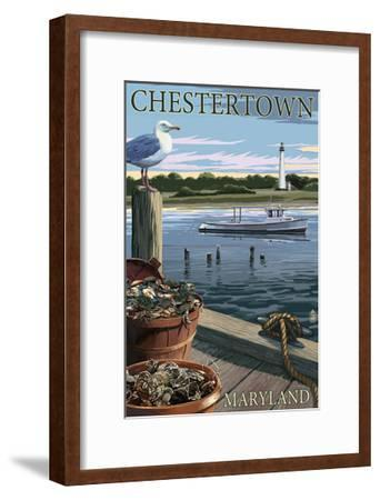 Chestertown, Maryland - Blue Crab and Oysters on Dock-Lantern Press-Framed Art Print