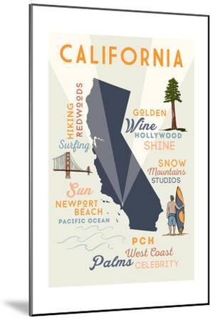 Newport Beach, California and Icons-Lantern Press-Mounted Art Print