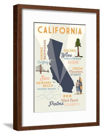 Newport Beach, California and Icons-Lantern Press-Framed Art Print