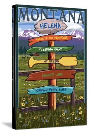 Helena, Montana - Destination Signpost-Lantern Press-Stretched Canvas Print