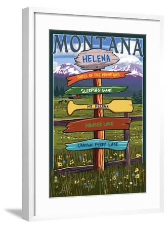 Helena, Montana - Destination Signpost-Lantern Press-Framed Art Print