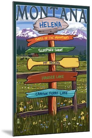 Helena, Montana - Destination Signpost-Lantern Press-Mounted Art Print