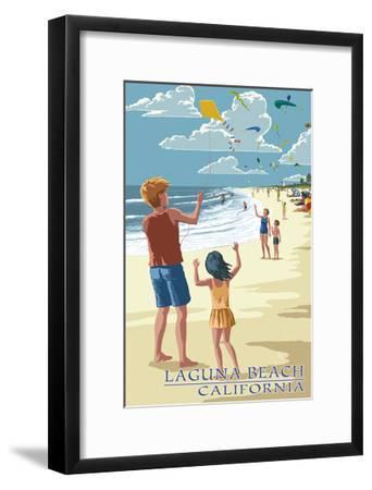 Laguna Beach, California - Kite Flyers-Lantern Press-Framed Art Print