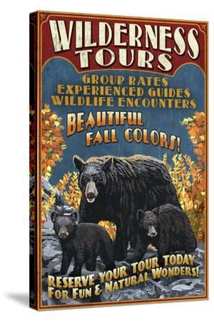 Black Bear Family - Vintage Sign-Lantern Press-Stretched Canvas Print
