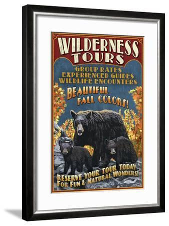 Black Bear Family - Vintage Sign-Lantern Press-Framed Art Print