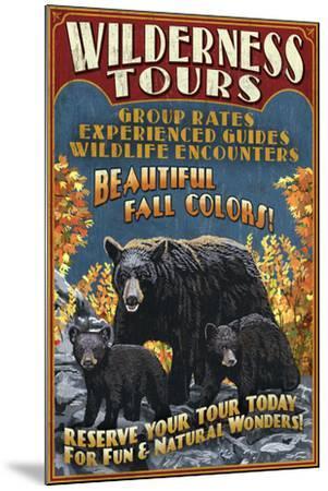 Black Bear Family - Vintage Sign-Lantern Press-Mounted Art Print