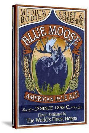 Blue Moose Pale Ale - Vintage Sign-Lantern Press-Stretched Canvas Print