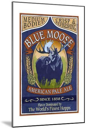 Blue Moose Pale Ale - Vintage Sign-Lantern Press-Mounted Art Print