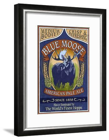 Blue Moose Pale Ale - Vintage Sign-Lantern Press-Framed Art Print