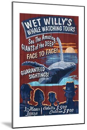 Blue Whale Watching - Vintage Sign-Lantern Press-Mounted Art Print