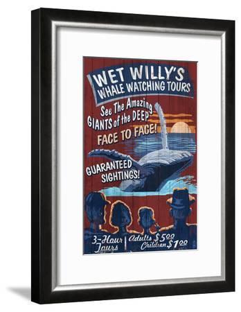 Blue Whale Watching - Vintage Sign-Lantern Press-Framed Art Print