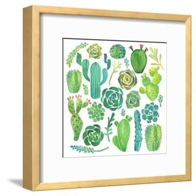 Watercolor Cactus and Succulent Set-Nadydy-Framed Art Print