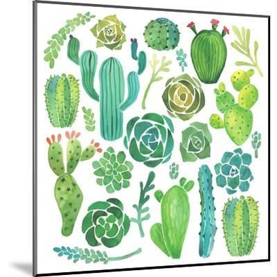 Watercolor Cactus and Succulent Set-Nadydy-Mounted Art Print