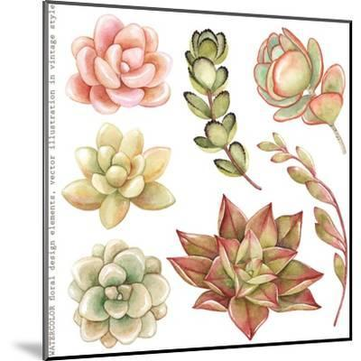 Watercolor Collection of Succulents and Kalanchoe for Your Design, Hand-Drawn Illustration.-Nikiparonak-Mounted Art Print