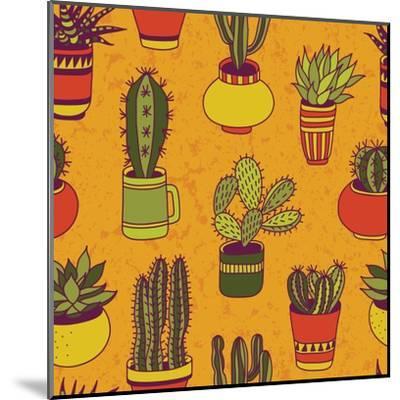 Succulents Garden - Seamless Pattern-LunaSolvo-Mounted Art Print