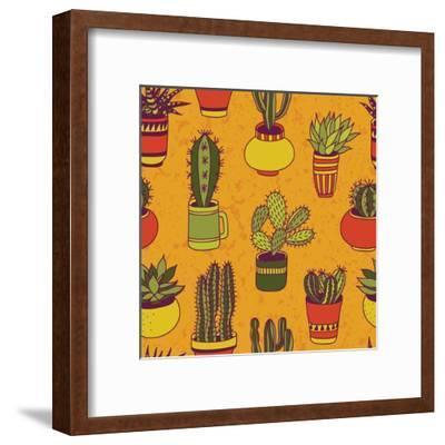 Succulents Garden - Seamless Pattern-LunaSolvo-Framed Art Print