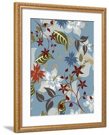 Seamless Floral Pattern Background - Illustration-Jxana-Framed Art Print