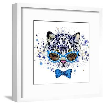 White Leopard T-Shirt Graphics. Cool Leopard Illustration with Splash Watercolor Textured Backgrou-Dabrynina Alena-Framed Art Print