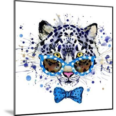 White Leopard T-Shirt Graphics. Cool Leopard Illustration with Splash Watercolor Textured Backgrou-Dabrynina Alena-Mounted Art Print