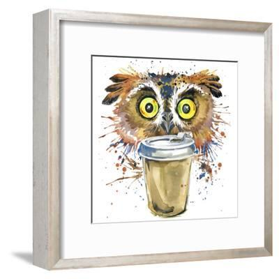 Coffee and Owl T-Shirt Graphics. Coffee and Owl Illustration with Splash Watercolor Textured Backgr-Dabrynina Alena-Framed Art Print