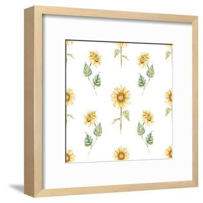 Watercolor Sunflower Pattern-Zenina-Framed Art Print